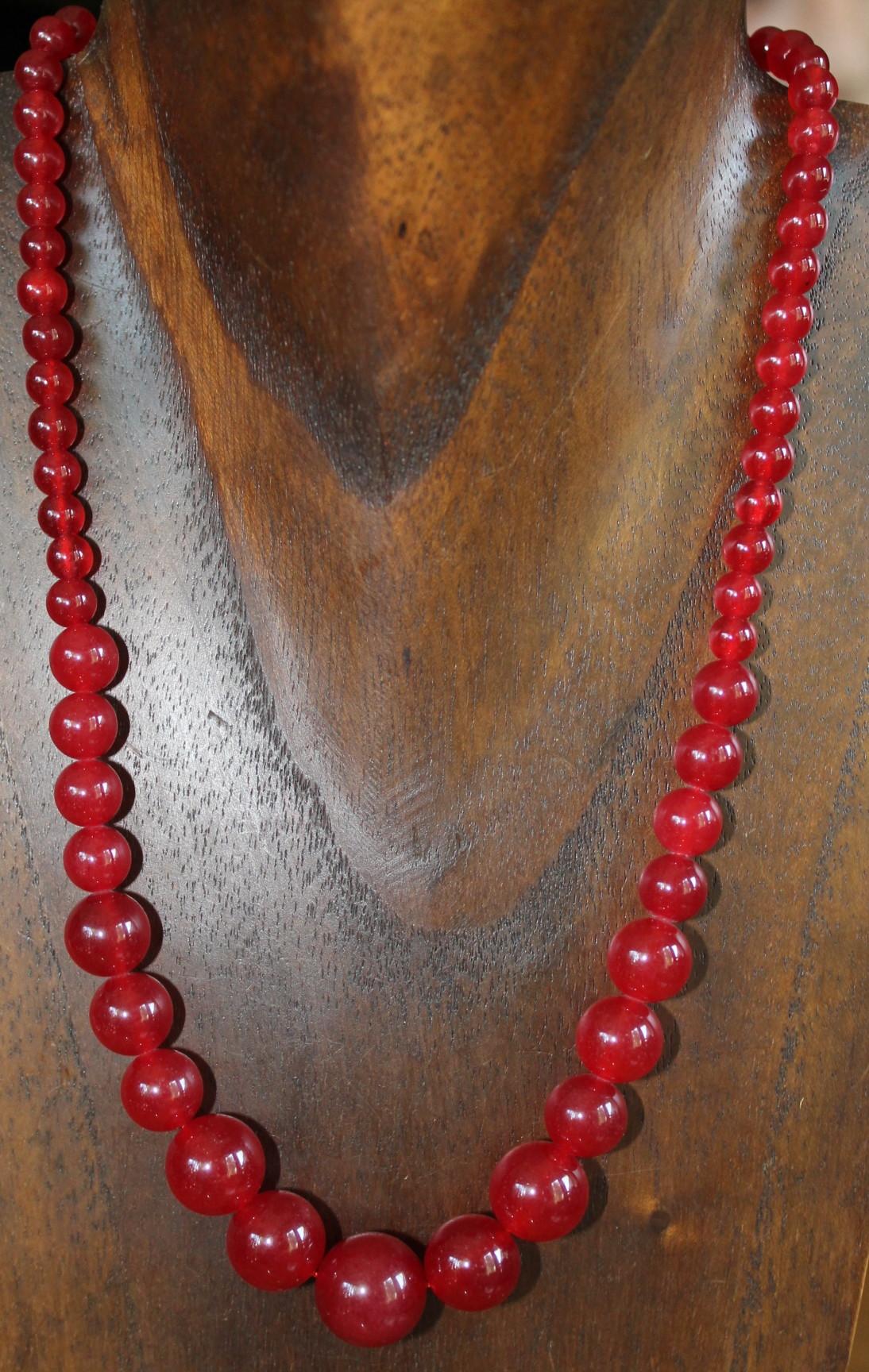 Collar perlas rojas de jade 46 cm, de moda n232