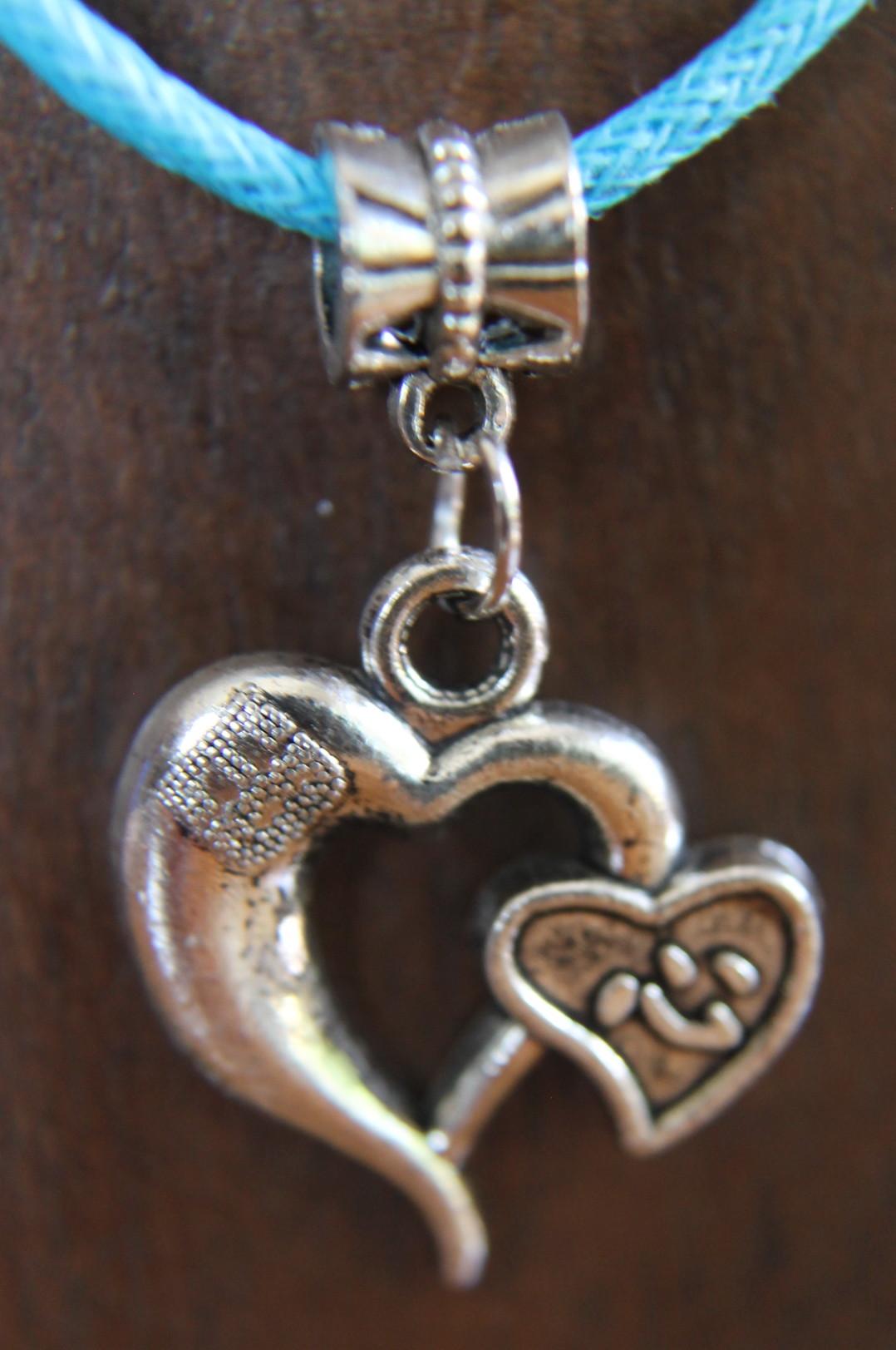 mejor selección ea891 34d3b Collar de cuero y plata con corazones, de moda n2652