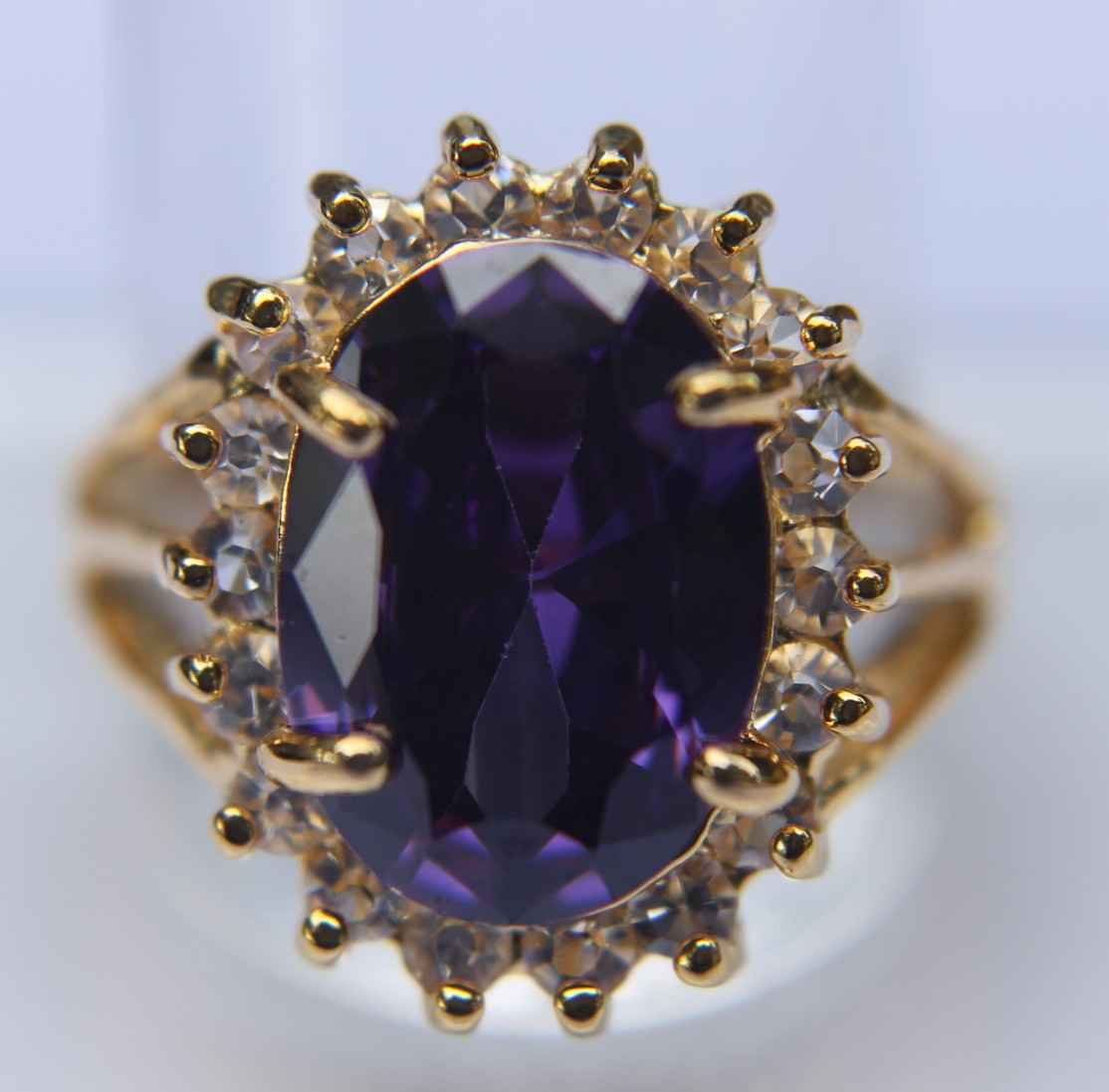 3fa70c5e2e27 Sortija de oro amatista 14×10 cristal swarovski n271 – Brazaletes y Sortijas
